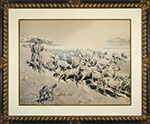 Edward Borein - A Goat Herder with His Flock. India Ink and Drybrush.