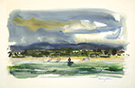 Francis Golden - Shark Fisherman at the Baja. Watercolor painting.