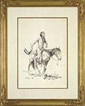 E. William Gollings - Indian on Horseback. Pen and ink drawing.