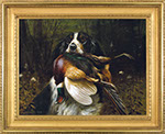 Alexander Pope Jr. - Setter with Pheasant. Oil on canvas.